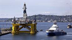 Буровая платформа для добычи нефти в Арктике в порту Сиэтла, США. Архивное фото