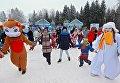 Участники праздничных мероприятий в Истринском районе Московской области, приуроченных к доставке главной новогодней ели в Московский Кремль