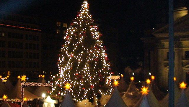 В Германии 15-метровая рождественская ель упала на посетителей ярмарки