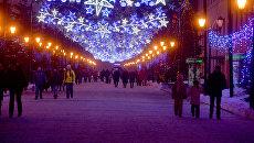 Новогодняя иллюминация на территории Казанского кремля