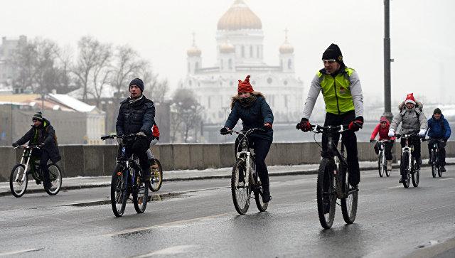 Первый зимний велопарад в Москве. Архивное фото