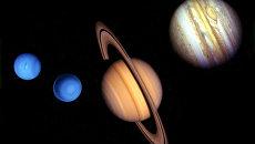 Комбинированное изображение планет сделанное из снимков двух космических аппаратов Вояджер