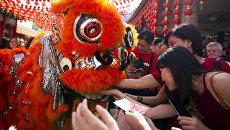 Танец льва в первый день китайского Нового года в храме Куала-Лумпура, Малайзия. 28 января 2017