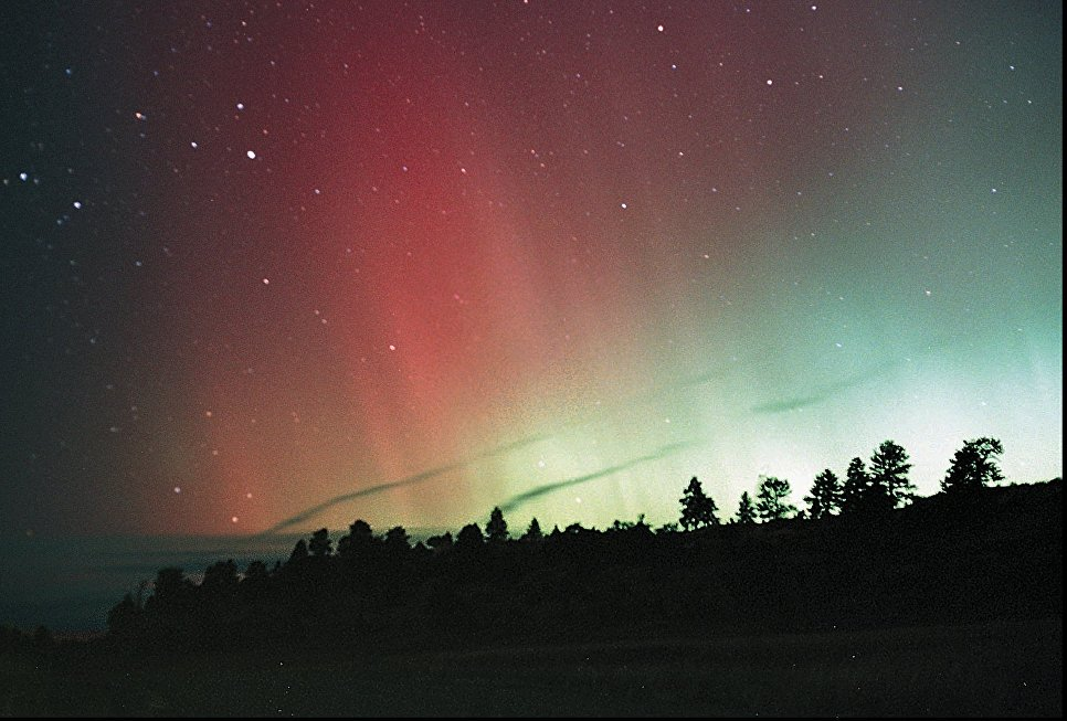 Северное сияние недалеко от Биллингса, Америка