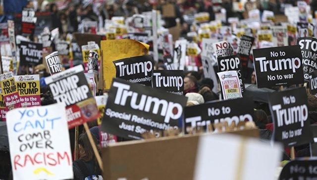 Встолице Англии провели акцию протеста против миграционной политики Дональда Трампа