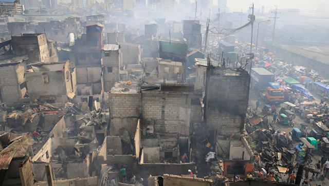 Последствия пожара в Маниле, Филиппины. 8 февраля 2017