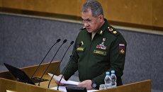 Министр обороны РФ Сергей Шойгу выступает на пленарном заседании Госдумы РФ. 22 февраля 2017