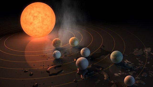 Так художник представил себе семь планет системы TRAPPIST-1