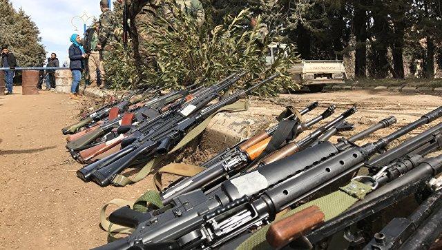 Оружие конфискованное у боевиков в сирийском городе Сергая