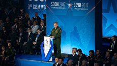 Министр обороны РФ Сергей Шойгу выступает на церемонии открытия III Всемирных зимних военных Игр в Сочи