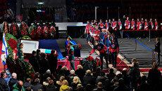 Церемония прощания с советским хоккеистом Владимиром Петровым в ледовом спортивном комплексе ЦСКА. 2 марта 2017