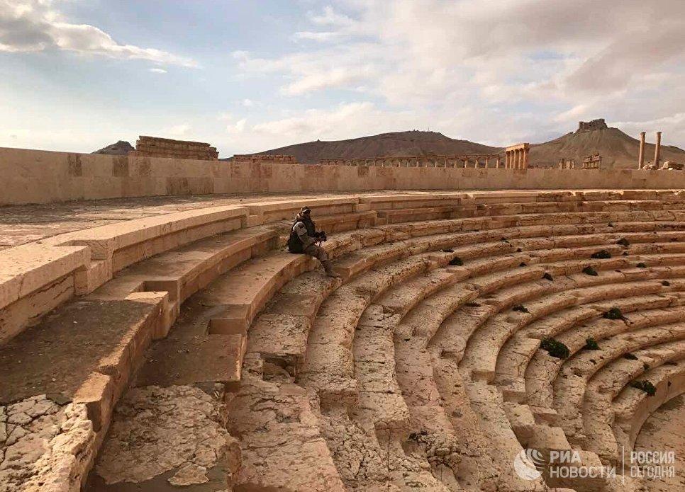 Военнослужащий на территории историко-архитектурного комплекса Древней Пальмиры в сирийской провинции Хомс