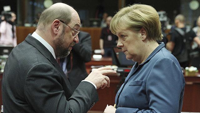 Канцлер Германии Ангела Меркель и Мартин Шульц. Февраль 2017 года
