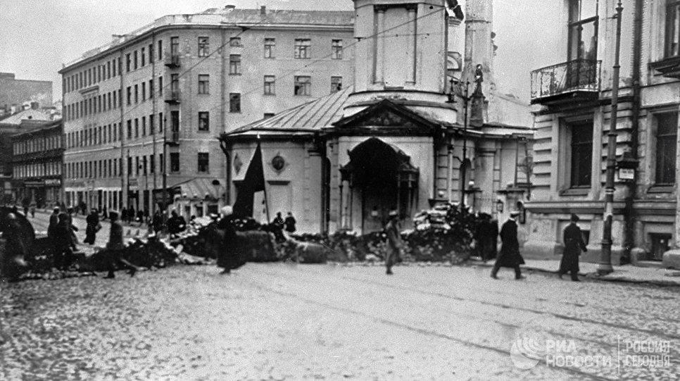 Баррикады на Остоженке. Москва. 1917 год
