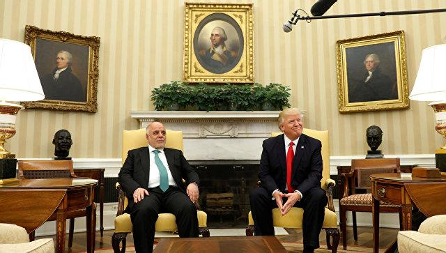 Премьер-министр Ирака Хейдар аль-Абади и президент США Дональд Трамп во время встречи в Вашингтоне. 20 марта 2017 года