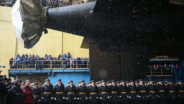 Торжественная церемония спуска на воду атомного подводного крейсера Казань ВМФ России в Северодвинске. 31 марта 2017