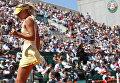 Россиянка Мария Шарапова в четвертьфинальном матче Открытого чемпионата Франции по теннису