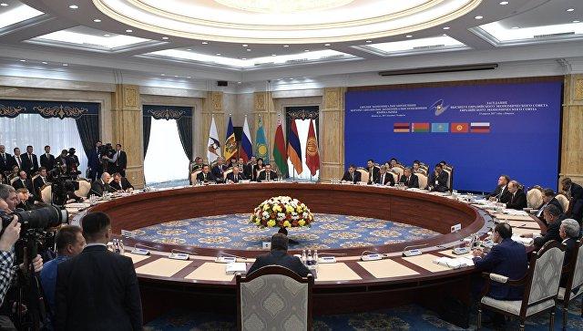 Заседание Высшего Евразийского экономического совета (ВЕЭС) на уровне глав государств в расширенном составе в резиденции Ала-Арча в Бишкеке. 14 апреля 2017 года