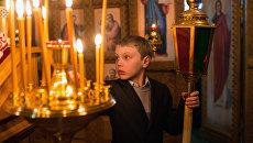 На пасхальном богослужении в храме Архистратига Михаила в селе Ермаковка Омской области
