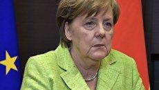 Федеральный канцлер ФРГ Ангела Меркель во время встречис президентом РФ Владимиром Путиным. 2 мая 2017