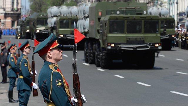 Береговой ракетный комплекс Бал во время военного парада во Владивостоке, посвящённого 72-й годовщине Победы в Великой Отечественной войне