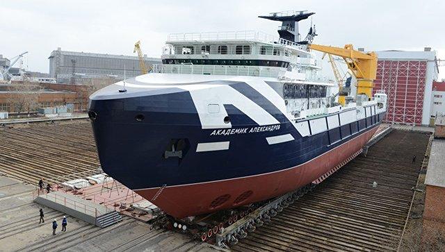 Исследовательское судно «Академик Александров» спущено наводу вСеверодвинске