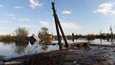 Частные дома в городе Ишим Тюменской области, подтопленный в результате сильного поднятия воды в реках Ишим и Карасуль