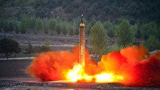 Испытание баллистической ракеты средней дальности Hwasong-12 в КНДР. 15 мая 2017