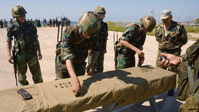 Совместные учения российских и сирийских морских пехотинцев в Тартусе