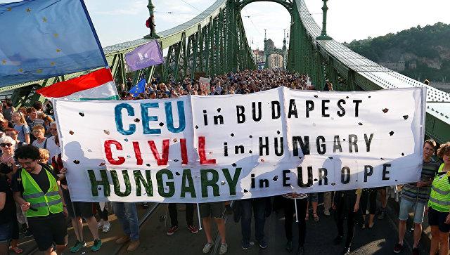 Участники акциии протеста в Будапеште, Венгрия. 21 мая 2017