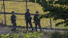 Южнокорейские солдаты на границе между Южной и Северной Кореей. Архивное фото