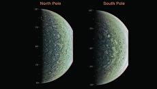 Северный и южный полюс Юпитера, снимки зонда Juno