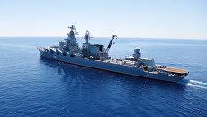 Гвардейский ракетный крейсер Москва во время учений в Средиземном море. Архивное фото
