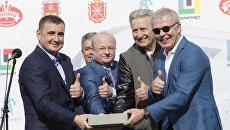Торжественная церемония закладки камня в строительство новой ледовой арены в Новомосковске, Тульская область. 28 мая 2017