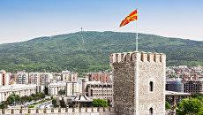 Вид на крепость Кале и город Скопье, Македония