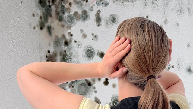Девушка в комнате с плесенью на стенах
