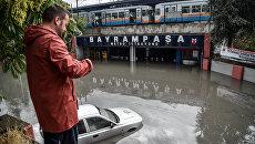 Затопленная в результате ливня станция метро в Стамбуле, Турция. 18 июля 2017