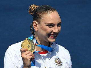 Светлана Колесниченко (Россия), завоевавшая золотую медаль в соревнованиях по синхронному плаванию в произвольной программе среди солисток. 19 июля 2017