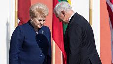 Президент Литвы Даля Грибаускайте и вице-президент США Майк Пенс во время встречи в Эстонии