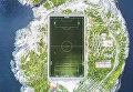 Работа фотографа Misha De-Stroyev Henningsvær Football Field, занявшая 3-е место в категории Города в фотоконкурсе 2017 National Geographic Travel Photographer of the Year