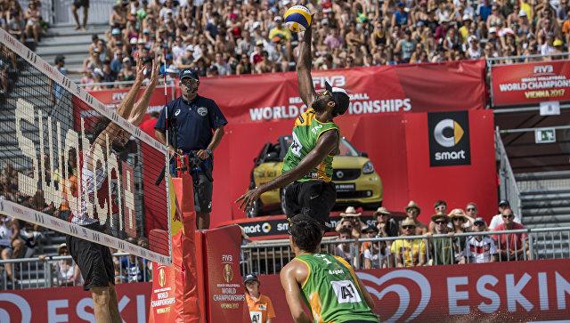 Бразильцы Андре и Эвандро на ЧМ по пляжному волейболу