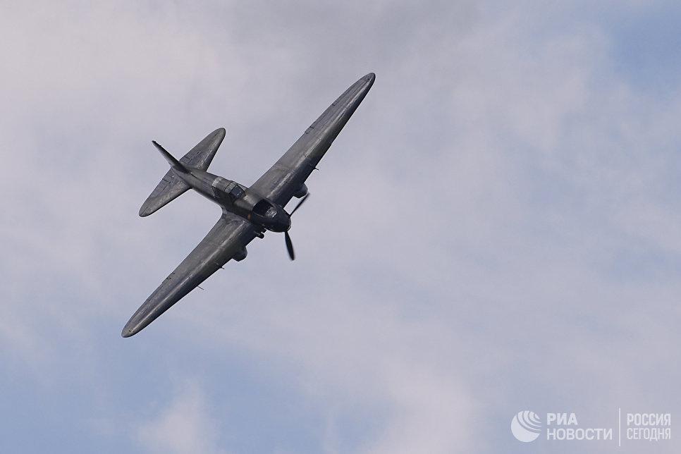 Советский штурмовик времён Великой Отечественной войны Ил-2 на Международном авиационно-космическом салоне МАКС-2017 в Жуковском