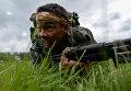Военнослужащие вооруженных сил Казахстана на финише пятого этапа Выход разведывательного соединения в район сбора после выполнения задачи на международном конкурсе Отличники войсковой разведки Международных армейских игр