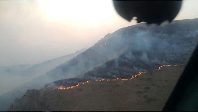 Пожар в Хосровском заповеднике в Армении