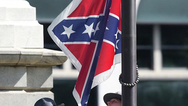 Военный флаг Конфедеративных Штатов Америки. Архивное фото
