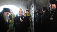 Патриарх Московский и Всея Руси Кирилл в Спасо-Преображенском соловецком монастыре. Архивное фото