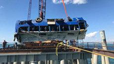 Автобус с рабочими упал в море на Кубани. Съемка с места ЧП