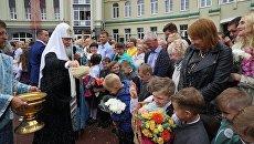 Патриарх Московский и всея Руси Кирилл принимает участие в церемонии открытия нового корпуса православной гимназии в Калининграде. 1 сентября 2017