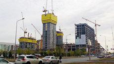 Возведение здания Абу-Даби Плаза в Астане, Казахстан. Архивное фото