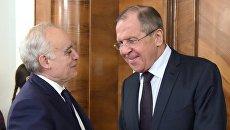 Сергей Лавров и специальный представитель Генерального секретаря ООН по Ливии Гассан Саляме во время встречи в Москве. 15 сентября 2017